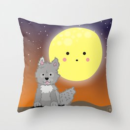 Wolf and the moon Throw Pillow