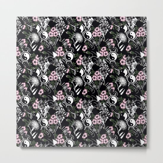 Abstract .floral black and white pattern. Metal Print