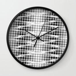 Slim Look Leggings Checkers White Paint Stripes Pattern Wall Clock