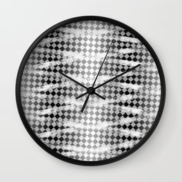 Slim Look Leggings Checkers White Paint Stripes Pattern Wall Clock