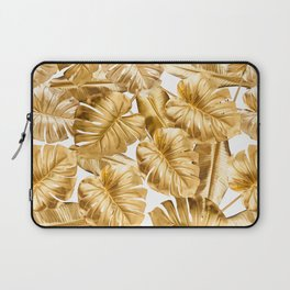 Gold Leaves Aloha Tropical Foliage Pattern Laptop Sleeve