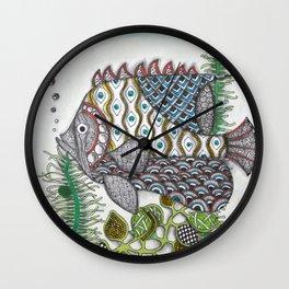 Hand-Drawn Swimming Fish  Wall Clock