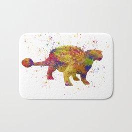 Ankylosaurus dinosaur in watercolor Bath Mat