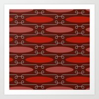 White Twirls Red Circles Pattern Art Print