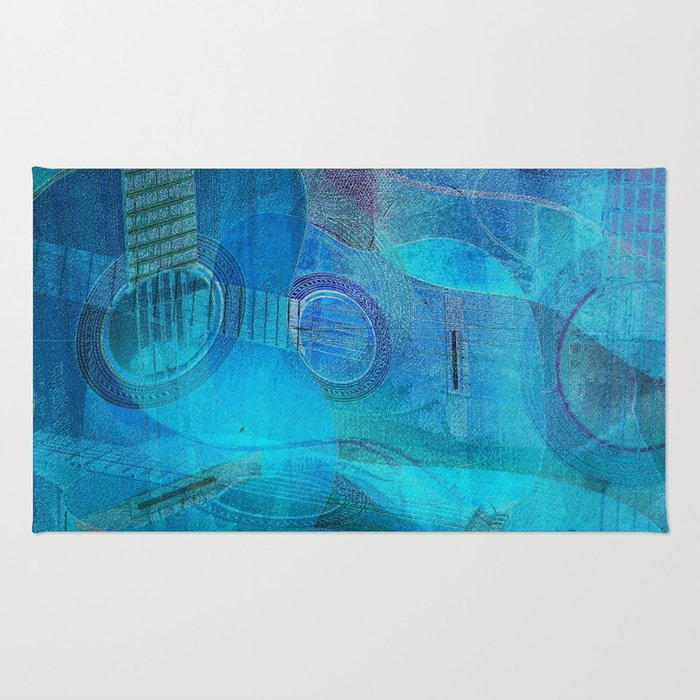 Guitar Study Blues Rug