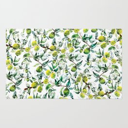 Lime Tree Branch Pattern Watercolor Rug
