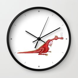 Dragon with flowers Wall Clock