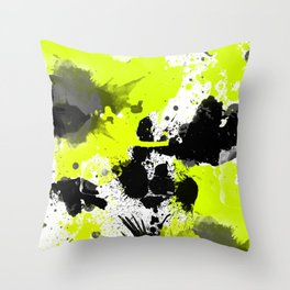 Lime Yellow Black Spats Throw Pillow