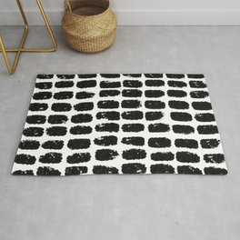 Large Dots Pattern Black and White Distressed Texture Abstract Rug