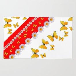 RED MODERN ART YELLOW BUTTERFLIES & WHITE DAISIES Rug