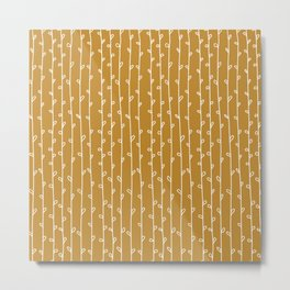 Leaf Vine Mustard Metal Print