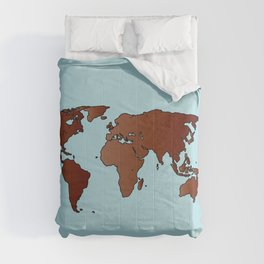World Map Outline Comforters