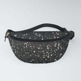 Black and white shiny glitter sparkles Fanny Pack