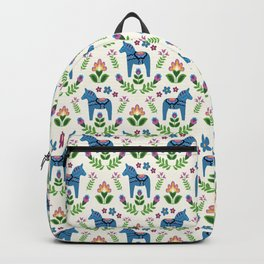 Swedsh Dala Horses Blue Backpack