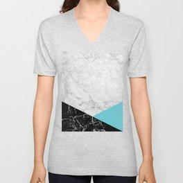 White Marble - Black Granite & Teal #871 Unisex V-Neck