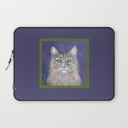 CUTE YOUNG TABBY CAT GREY BEIGE CHALK PASTEL DRAWING Laptop Sleeve