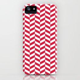 Crimson Red Herringbone Pattern iPhone Case