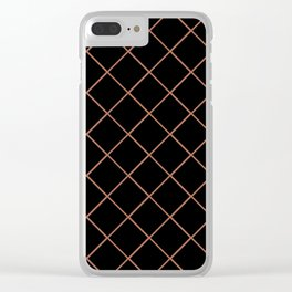 Sherwin Williams Cavern Clay SW7701 Thin Line Stripe Grid on Black Clear iPhone Case