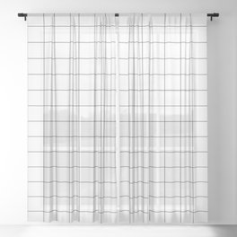 White & Black Grid Pattern Sheer Curtain