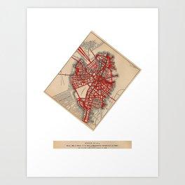 Boston Valentine, Anatomic Heart/Altered Map of Boston Art Print