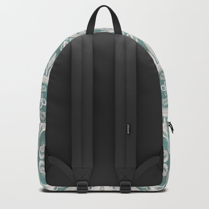 Teal and grey dirty denim textured boho pattern Backpack