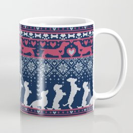 Fair Isle Knitting Doxie Love // navy blue background white and red dachshunds dogs bones paws and hearts Coffee Mug