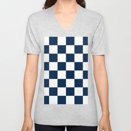 Large Checkered - White and Oxford Blue Unisex V-Neck