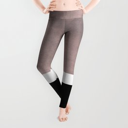 Mid Century Modern Minimalist Art Colorblock Rothko Inspired Squares Grey and Black Simple Abstract Leggings