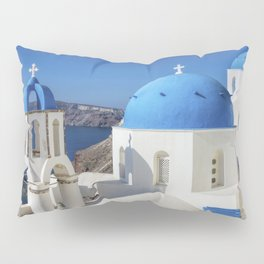 Santorini, Oia Village, Blue and White Church Pillow Sham
