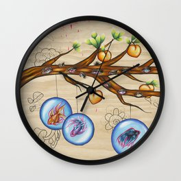 Peach Tree Wall Clock