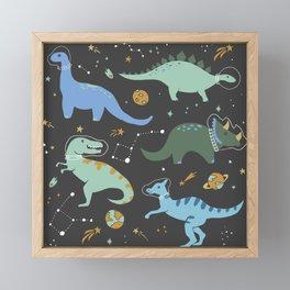Dinosaurs in Space in Blue Framed Mini Art Print