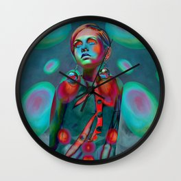 """Psychedelic Pop Fantasy"" (Twiggy) Wall Clock"