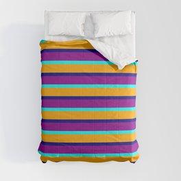 Orange, Blue, Dark Magenta & Aqua Lines/Stripes Pattern Comforters