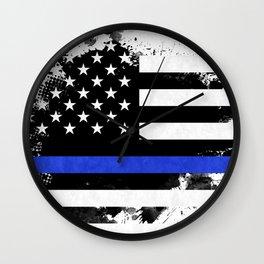 Distressed Thin Blue Line American Flag Wall Clock