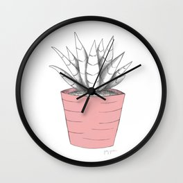 Succulent in Pink Wall Clock