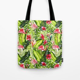 Aloha - Tropical Flamingo Bird and Hibiscus Palm Leaves Garden Tote Bag