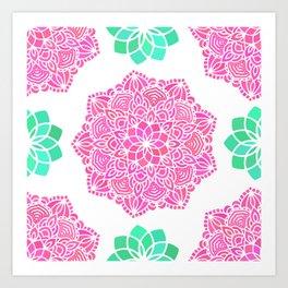 pink mandala pattern Art Print