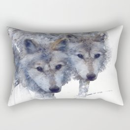 Digital Painting Of Two wolves Rectangular Pillow