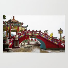 Beautiful Red Temple to Water Goddess in Hong Kong Rug