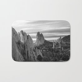 Garden of the Gods - Colorado Springs Landscape in Black and White Bath Mat