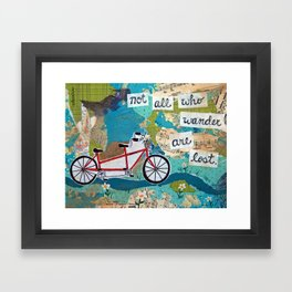 Not all who Wander are Lost - Red Tandem Bicycle Framed Art Print