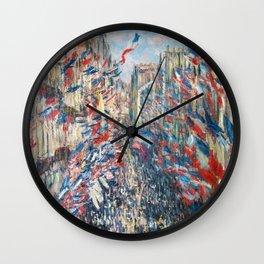 Claude Monet - La Rue Montorgueil Wall Clock