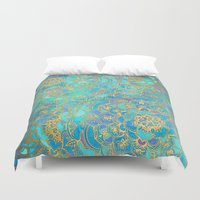 white Duvet Covers featuring Sapphire & Jade Stained Glass Mandalas by micklyn