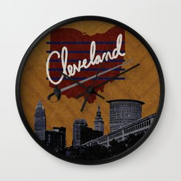 Cleveland Poster Wall Clock