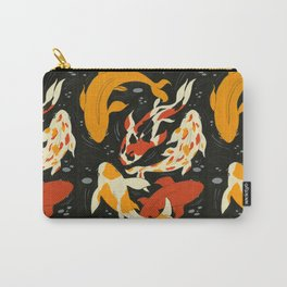 Koi in Black Water Carry-All Pouch