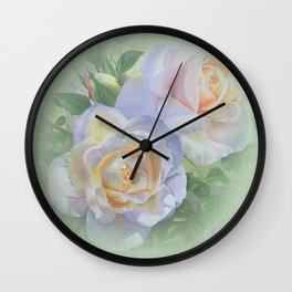 Vicorian Roses Neck Gator Two White Roses Wall Clock