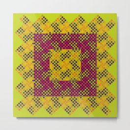 Dot Swatch Equivocated on Chartreuse Metal Print