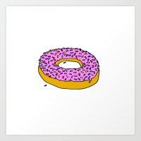 doughnut Art Prints featuring Doughnut by PSHAWWHO