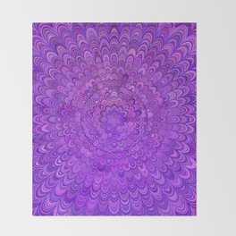 Purple Mandala Bird Feathers Throw Blanket