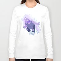 enerjax Long Sleeve T-shirts featuring Amethyst - Crystal Gems by enerjax